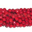 CORAL BEADS - ROUND FACETED RED BEADS 6MM